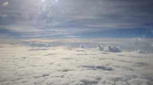 over the clouds above Okinawa