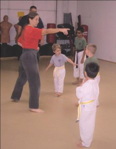 teaching and leading karate