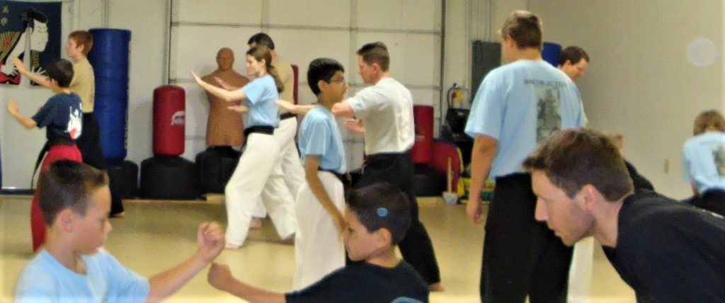 dojo class with awesome karate instructors teaching small groups