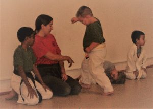 karate teacher and students in class
