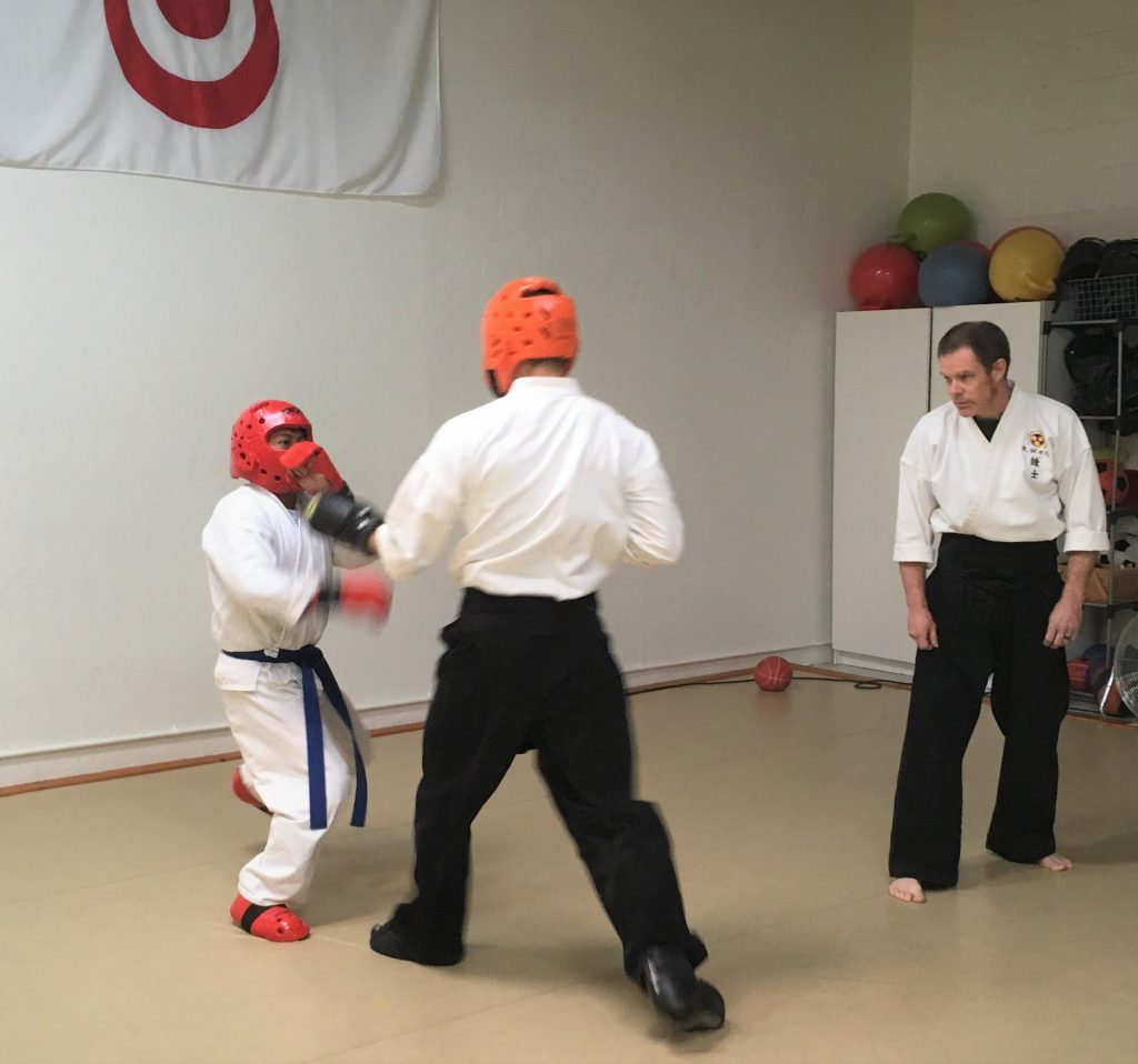 Adult students spar building physical fitness