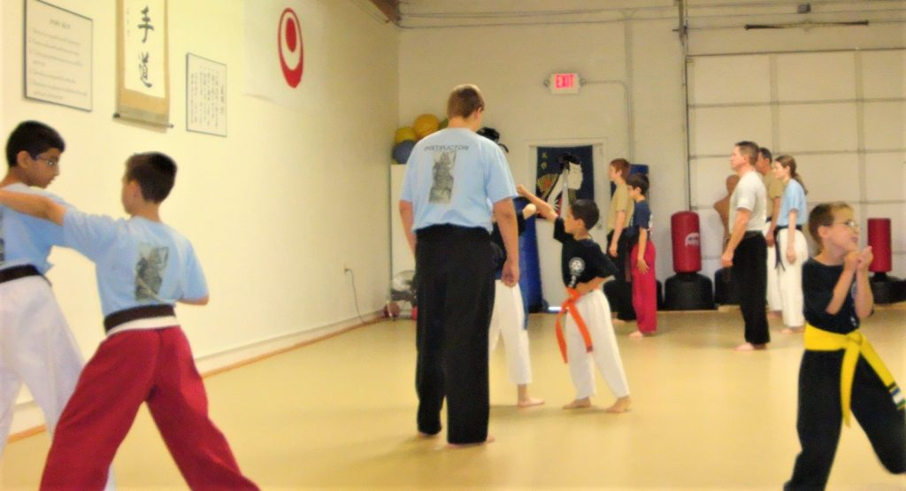 Class in a traditional dojo showing karate safety systems of the Dojo Kun on the front wall and black belt supervision of small groups training.