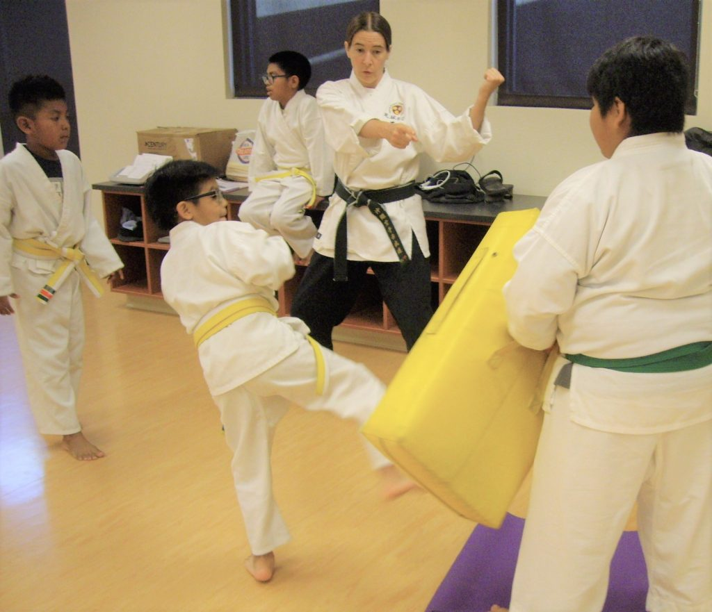 Karate teacher giving a child student instruction as he kicks a large target held by another student.