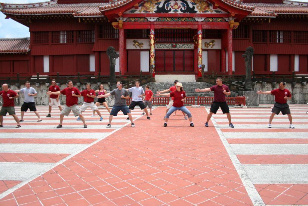 karate practitioners at Shuri Castle, Okinawa, Japan
