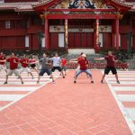 karate practitioners at Shuri Castle, Okinawa, Japan