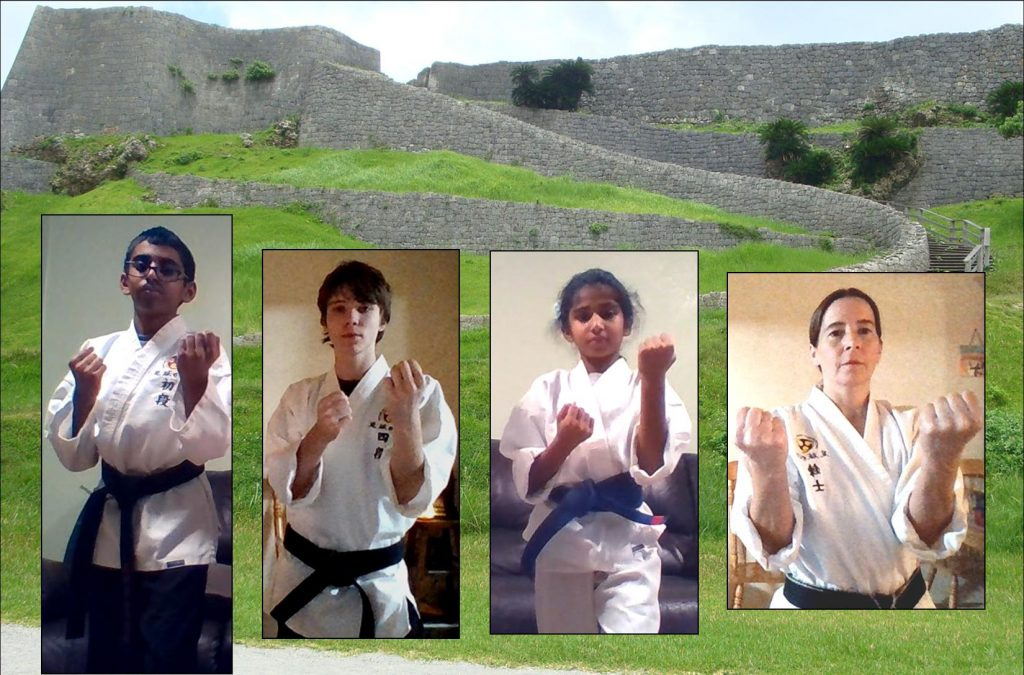 karate students and a Ryukyuan castle represent perseverance