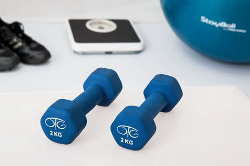 dumbells and exercise ball