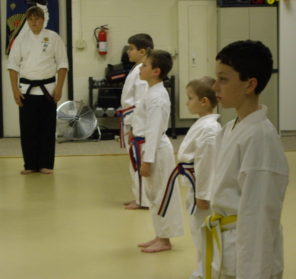 confident karate kids lined up