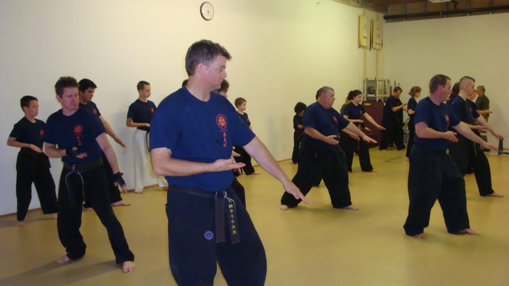 Ferreira Sensei in the middle of a group kata training session.